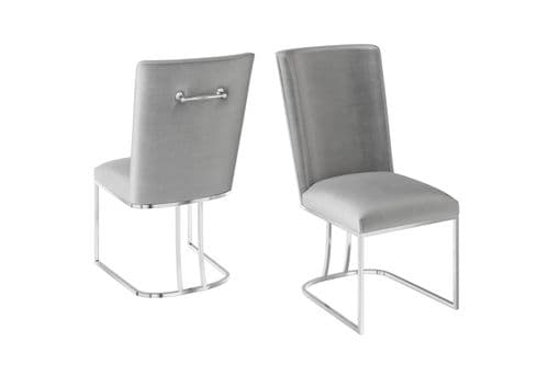 Celburn Seductive Silver Grey Velvet Dining Chair