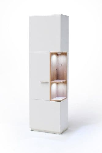 Cessinatra RH 60cm Slim White And Oak Display Cabinet