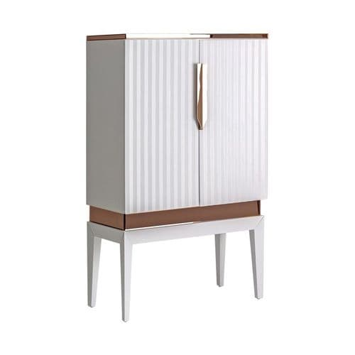 Clarice Art Deco Style White And Rose Gold Highboard