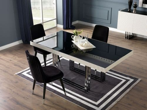 Claudia 188cm  Modern Black And White Dining Table