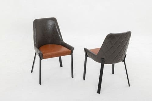 Debra Grey And Tan Brown Leather Dining Chair