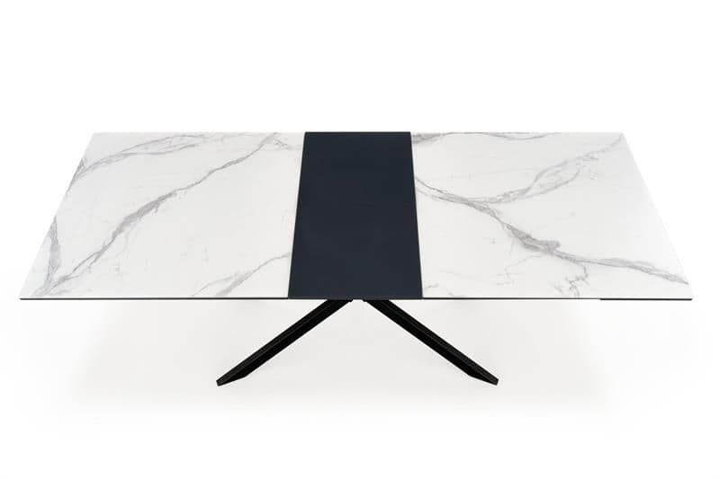 Delroy 160cm-200cm White And Grey Marble Dining Table