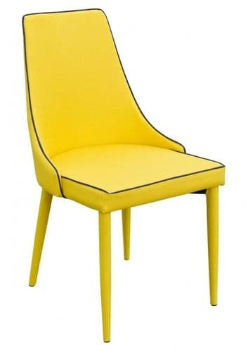 Denton Yellow Fabric Elegant Dining Chair