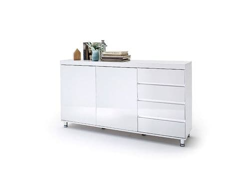 Deroy White Gloss 4 Drawer 2 Door Small Sideboard 145cm