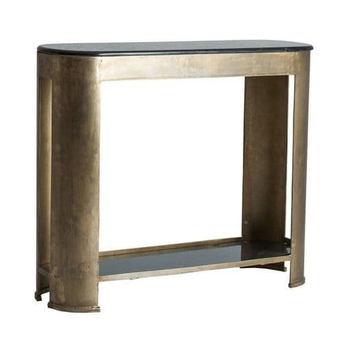 Deskey Black Marble And Gold Console Table
