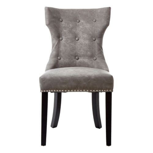 Dex Worn Grey Leather Dining Chair