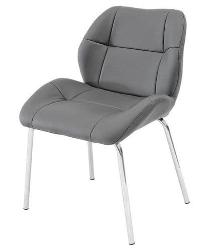 Dikono Grey Leather Bistro Chairs