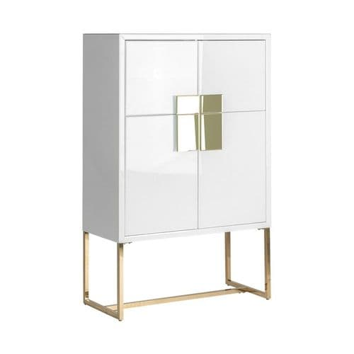 Eileen White And Gold Mirrored Highboard
