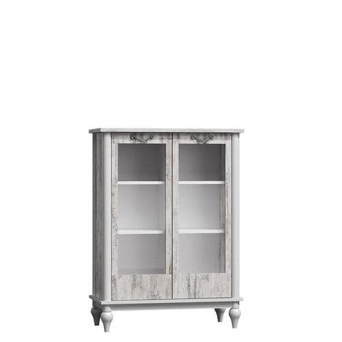 Elamay Off White And Bleached Pine Low Display Cabinet