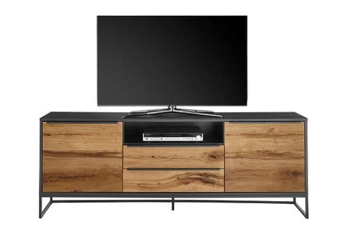 Esemee 184cm Oak TV Stand  With Anthracite Grey Trim