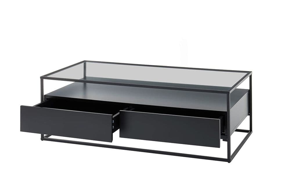 Eva Black Coffee Table With Drawers