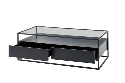 Eva 120cm Black  Coffee Table With Drawers