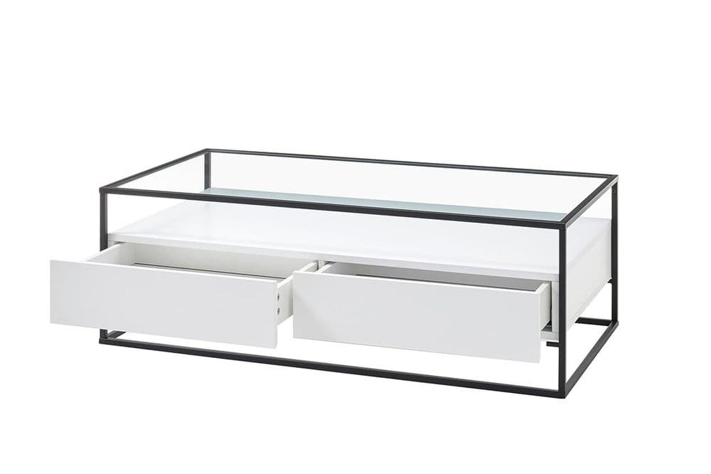 Eva White Coffee Table With Drawers