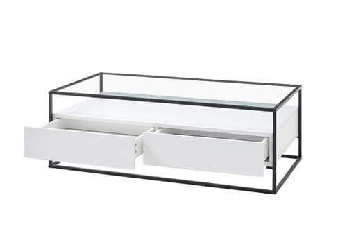 Eva 120cm White Coffee Table With Drawers