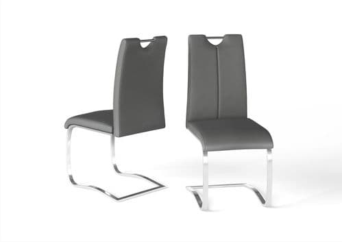 Gabrielle Grey Leather Look Dining Chair