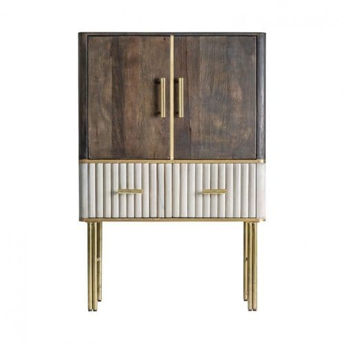 Glennis Solid Wood Brown And Cream Art Deco Highboard