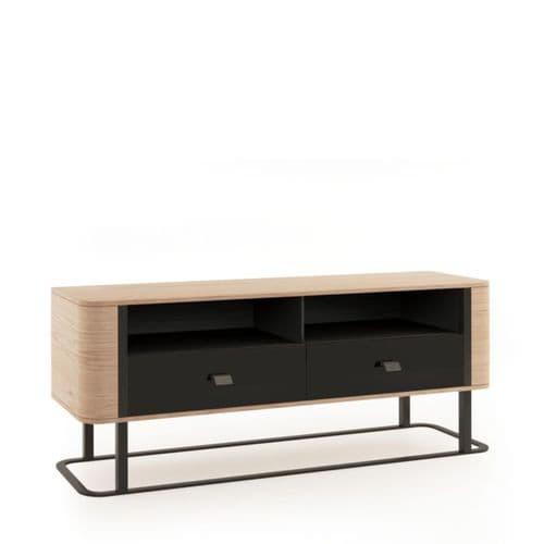 Grantham 151cm Oak And Black 2 Drawer Low TV Stand