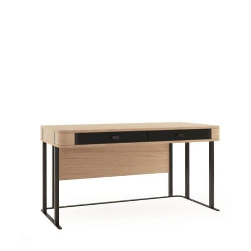 Grantham  Oak And Black Gloss Office Desk