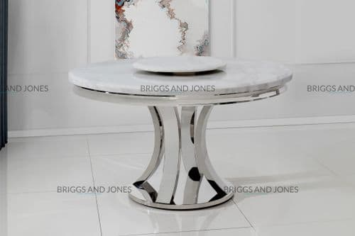 Hampton 130cm Round White Marble Top Dining Table With Lazy Susan