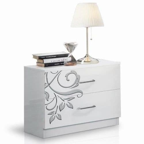 Hayles White Gloss 2 Drawer Bedside Table