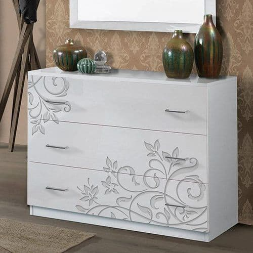 Hayles White Gloss 3 Drawer Chest