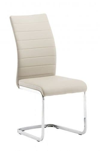 Jazz Stone Beige And Taupe Faux Leather Dining Chair
