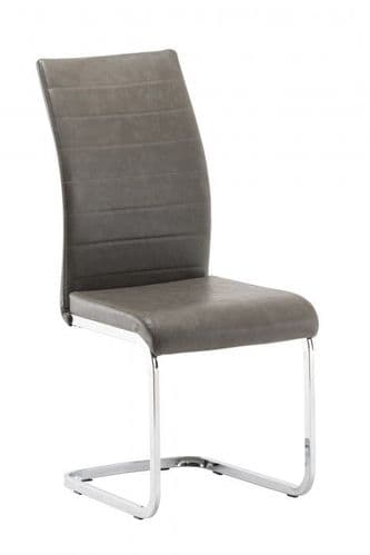 Jazz Worn Grey Faux Leather Dining Chair