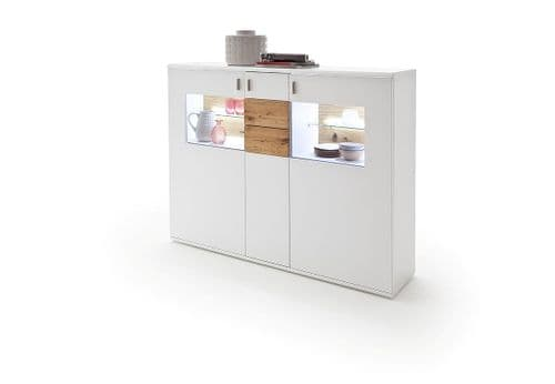 Kanony 150cm White And Oak Tall Sideboard With Display