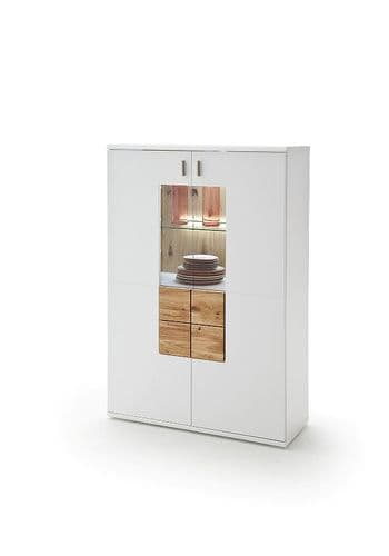 Kanony 90cm White And Oak Storage Cupboard With Display Unit