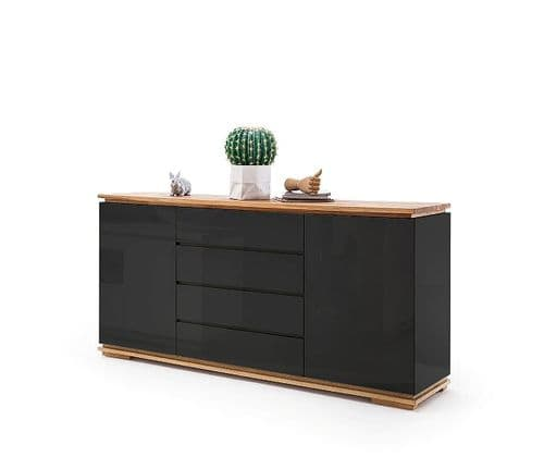 Elegant And Stylish Kiara Black Gloss And Oak Sideboard
