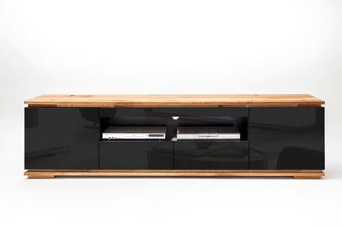 Kiara 202cm  Black Gloss And Oak TV Stand