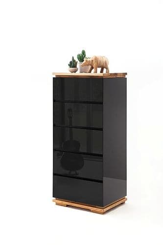 Kiara Narrow  Black Gloss And Oak 5 Drawer Chest