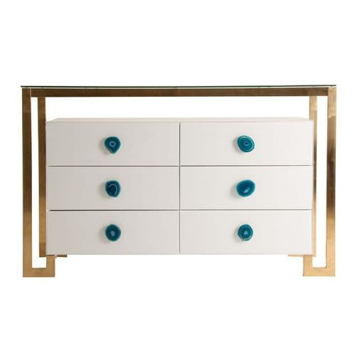 Kimberly 120cm  White Glass And Gold Chest Of Drawers
