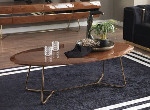 Leilani 140cm Large Gloss Walnut Coffee Table With Gold Legs