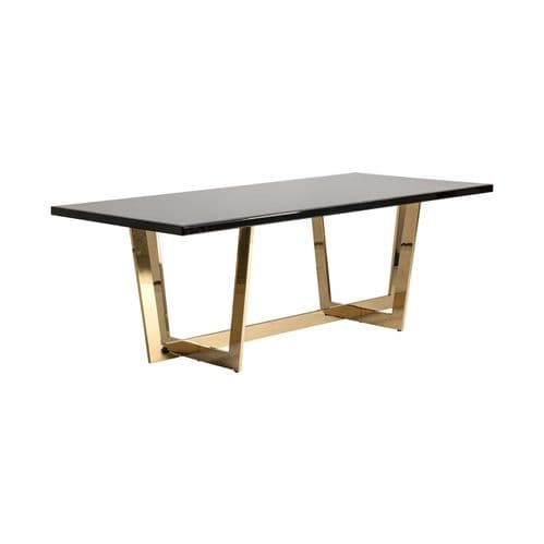 Leyla 220cm Large Black Glass And Gold Dining Table