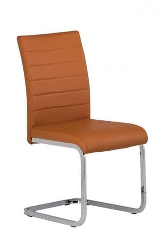 Lorence Burnt Orange Faux Leather Dining Chair