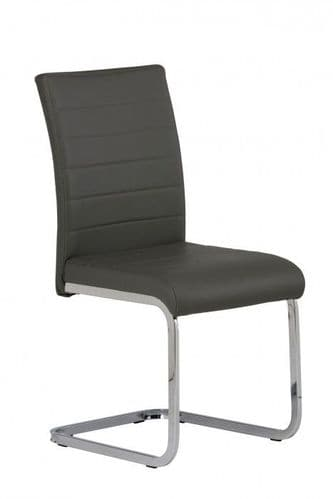 Lorence  Grey Faux Leather Dining Chair