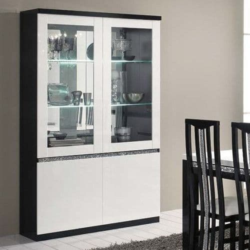 Lynette Display Cabinet Black and White Home Furniture
