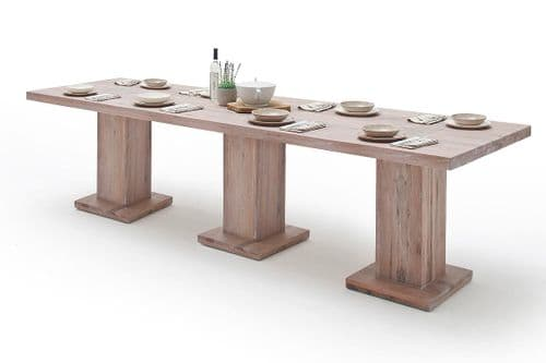 Manton 300cm Solid Bleached Oak Wood Dining Table