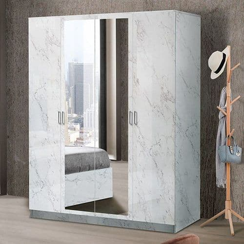 Marnie 4 Door White Marble Effect Wardrobe With Mirrors