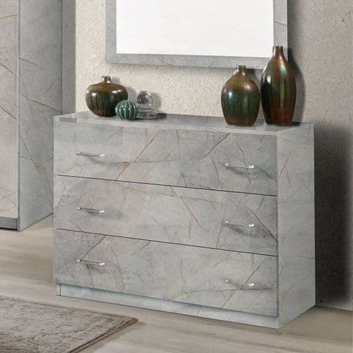 Mesure Grey Marble Effect 3 Drawer Chest