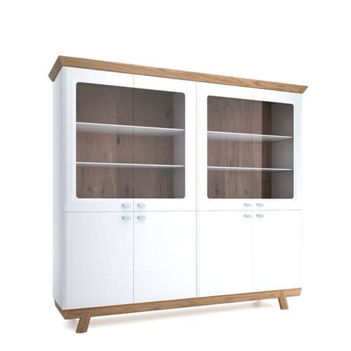 Michari  228cm White And Oak Gloss Chunky Wide Bookcase Display