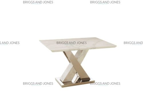 Mildred 120cm Small White Marble Top Dining Table