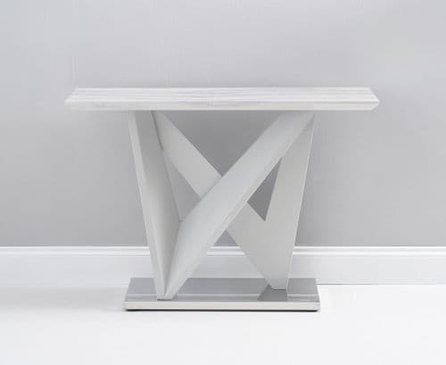 Misha  Grey Gloss And Grey Marble Console Table