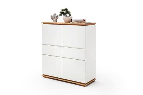 Nancy  White And Oak Tall Sideboard