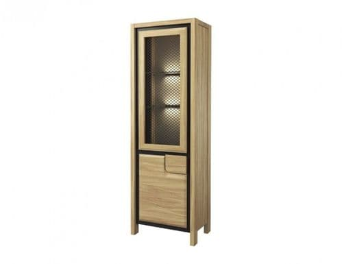Nicholas Left Hand Oak Wooden Assembled Display Cabinet UK  With Mesh Fronts