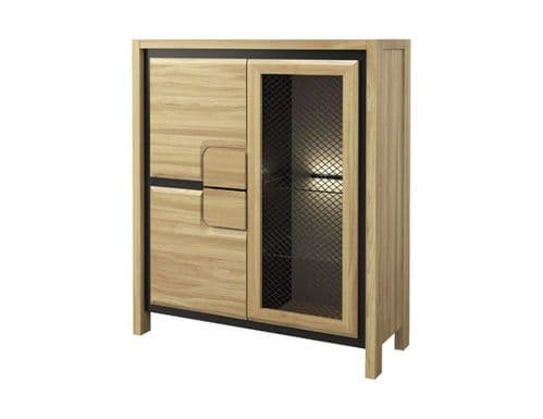 Nicholas Oak Wooden Assembled LOW Display Cabinet UK  With Mesh Fronts