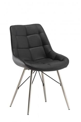 Norman Black Leather Dining Chair