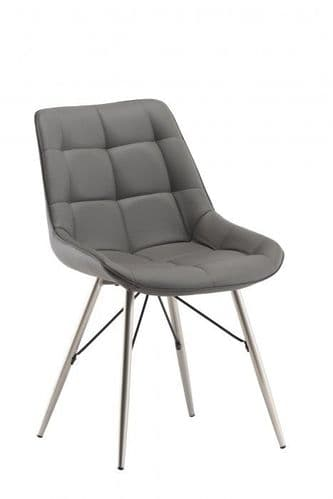Norman Grey Leather Dining Chair
