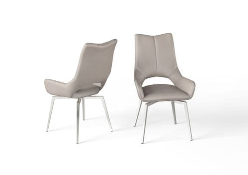 Pauline Taupe Leather Swivel Dining Chair
